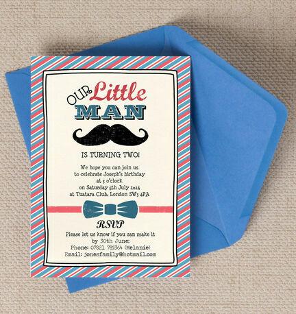 Man Party Invitation – Little Man Birthday Party Invitations