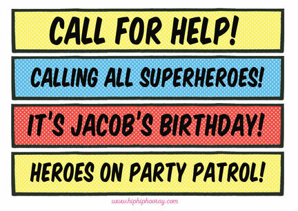 Personalised Comic Book Superhero Party Signs