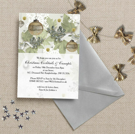 Personalised 'Christmas Sparkle' Party Invitations - Printed or Printable