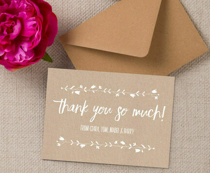 Personalised Rustic Kraft Thank You Card