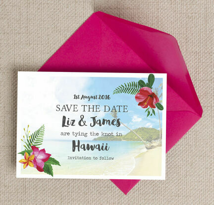 Tropical Beach Flowers Postcard Save the Date