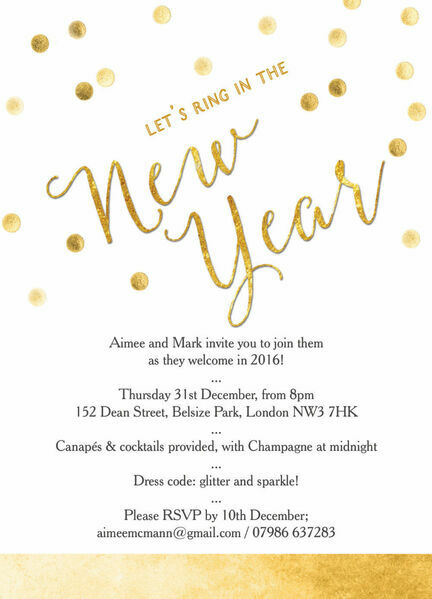 Gold Confetti New Years Eve Party Invitation