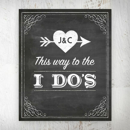 This Way to the I do's' Vintage Chalkboard Personalised Wedding Print