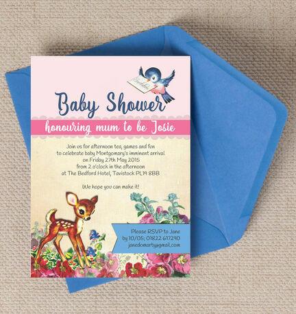 Vintage Deer Baby Shower Invitation