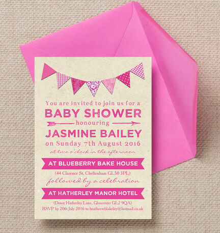 Vintage Pink Bunting Baby Shower Invitation