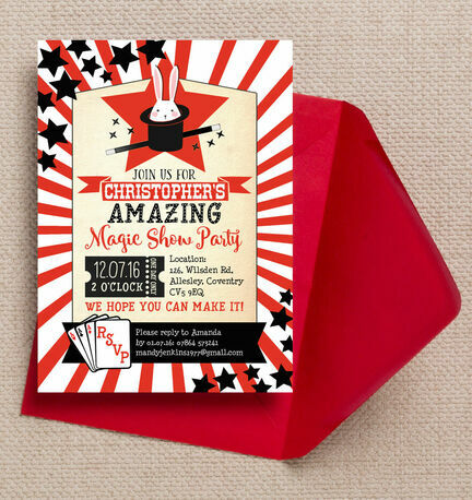 Magic Show Party Invitation from 080 each – Magic Party Invitations
