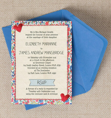 Country Textiles Wedding Invitation