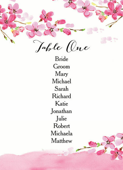 Cherry Blossom Table Plan Card