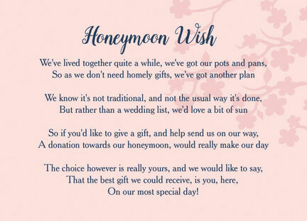 Navy & Pink Honeymoon Wish Poem Card