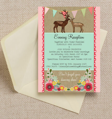 Rustic Woodland Evening Reception Invitation
