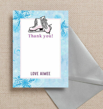 Ice Skating Personalised Thank You Card
