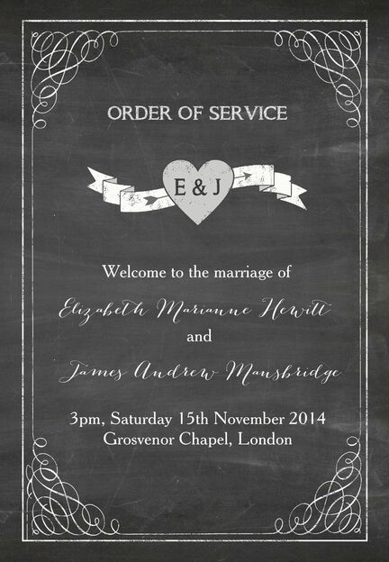 Chalkboard Order of Service Cover