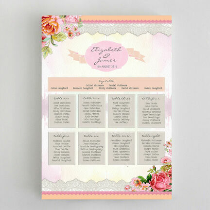 Pastel Watercolour Wedding Seating Plan
