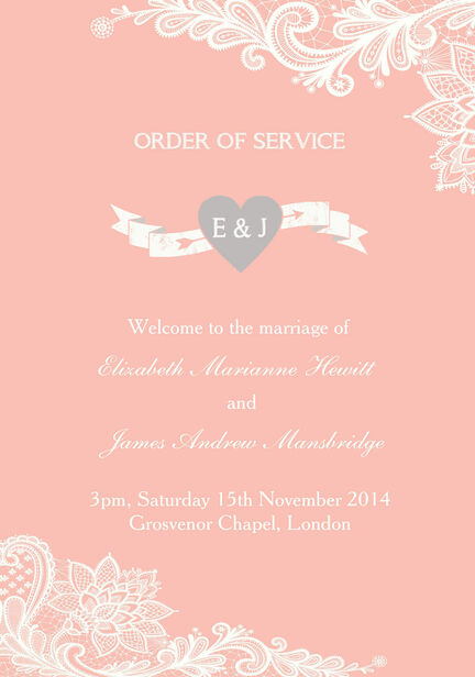 Romantic Lace Order of Service Cover
