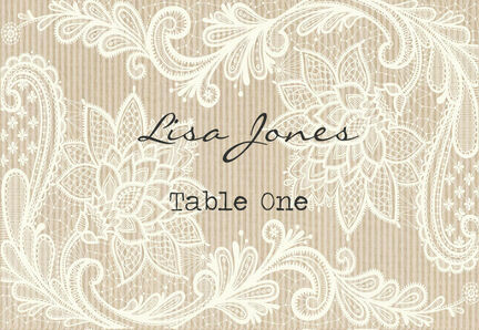 Rustic Lace Escort Cards - Set of 8