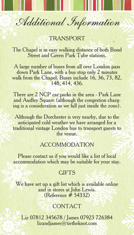 Rustic Winter Guest Information Card